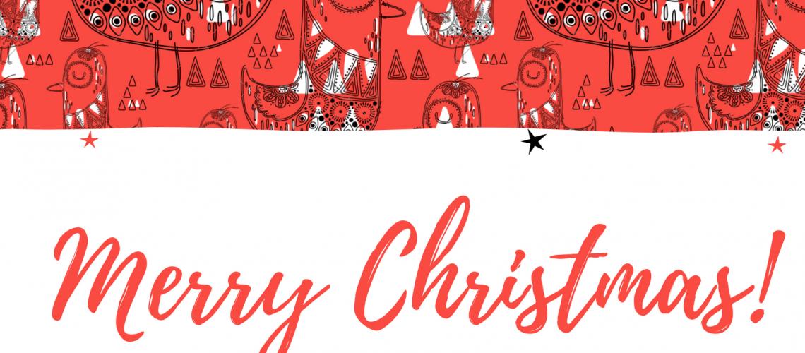 SEASONS GREETINGS FROM US - Red Birds Christmas Seamless Pattern Christmas Art Card